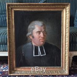 Portrait d'Abbé, tableau ancien, 19ème, XIXème