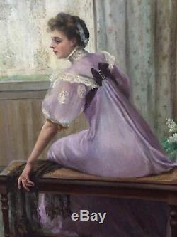 Portrait d'une élégante vers 1900, tableau ancien