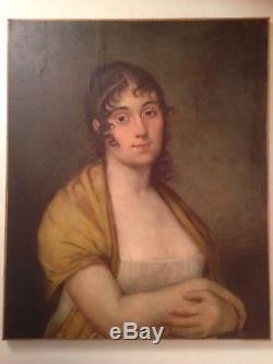 Portrait de Jeune Femme Tableau ancien XIXe Huile sur Toile romantique 19ème