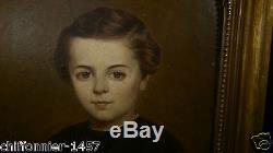 Portrait de jeune garçon huile sur carton XIX° Tableau Ancien a identifier
