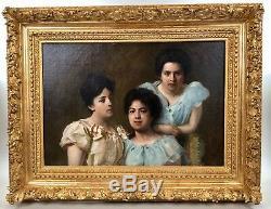 Portrait de trois soeurs, peinture sur toile, XIXème, tableau ancien