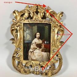 Portrait femme assise, tableau ancien sur panneau