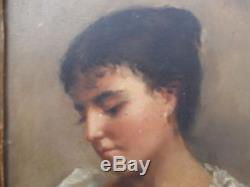 Portrait jeune fille huile sur panneau tableau ancien cadre sculpté bois ancien