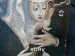 RARE ANCIEN TABLEAU PEINTURE SUR CUIVRE HSC MARIE MADELEINE PÉNITENTE XVIII ème