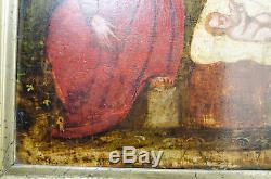 RARE TABLEAU ANCIEN NATIVITé HUILE SUR BOIS XVIIE VIERGE JéSUS JOSEPH ANGE
