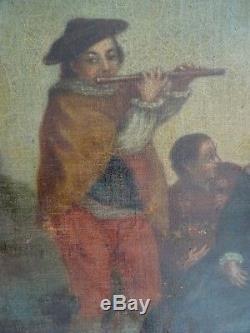 RARE Tableau ancien École française du XVIIIe Suiveur de Nicolas Lancret 18Th