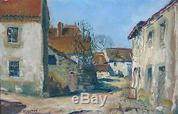 RAYMOND BESSE, rue du village, CHAMBONCHARD, CREUSE, 23, en 1938, TABLEAU ANCIEN