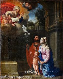 RELIGIEUX PEINTURE A L'HUILE XVIIe'SANTA FAMILIA' TABLEAU ANCIEN CADRE ITALIE