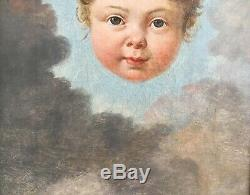 Rare Chérubin Nuages Tableau Ancien 1800 HsT Rêve Dieu Surréalisme Post Mortem