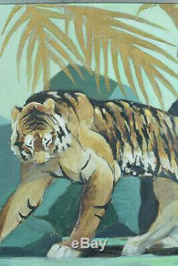 Rare Tableau ancien Tigres Fauve Orientaliste PAUL JOUVE ART DECO SIGNÉ HST 1930