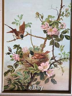 Rare, ancien tableau, HST, nature, oiseaux, japonisant, Signé M. L Chevrier fin XIXème