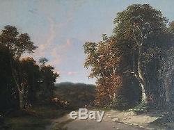 Rare, ancien tableau, HST, paysage, sous-bois, Jean Hector Gambart, XIXème siècle
