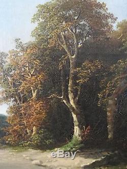 Rare, ancien tableau, huile sur toile, école française, Barbizon, Gambart, XIX