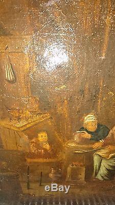 Rare ancien tableau, huile sur toile, scène de taverne, hollandais, XVIIème siècle