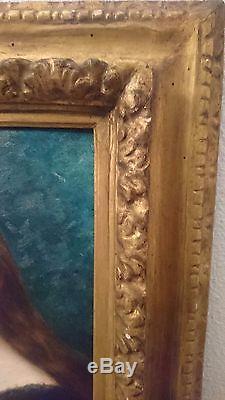 Rare, ancien tableau, huile, toile, portrait fille, d'après Jean-jacques Henner, XIXèm