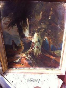 Rare et jolie école fr, tableau XVIII XIX, Moine dans la foret, cadre ancien