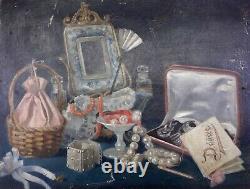 Rare nature morte aux bijoux tableau ancien Huile sur toile XIXe non signé
