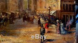 Rare tableau ancien Impressionnisme à Paris Place Vendôme rue de la Paix