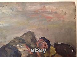 Rare tableau ancien de Renée UNIK Post-impressionnisme Le sans abri Huile