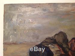 Rare tableau ancien impressionniste clochard endormi huile de Renée Unik c1940