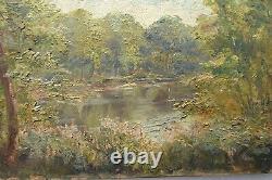 Rémy E Landeau tableau ancien HSP Paysage Impressionniste fin XIXe début XXe
