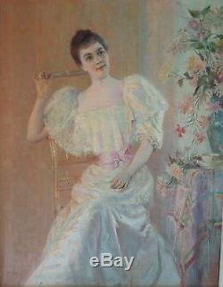 René GERIN Tableau ancien, portrait de femme, XIXème siècle, huile sur toile