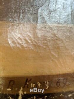 Renhard KUNZ Tableau huile ancien à restaurer peintre alsacien