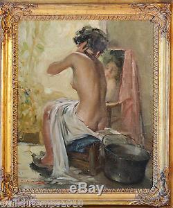 Richard DURANDO-TOGO (1910-) NU A LA TOILETTE HUILE CADRE TABLEAU ANCIEN
