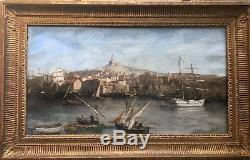 Robert Charles MOLS (1848-1903) tableau ancien Le Vieux Port de Marseille