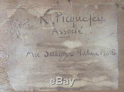 Roger-Francois Picquefeu (Français, XIXe-XXe) Ancien Tableau Peinture Huile