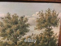 SCÈNE AGRICOLE 19èm tableau ancien peinture France bufs charrue paysan