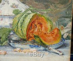 SUPERBE GRAND TABLEAU Ancien Nature morte Melon Soupière ANNIE AYRTON XIXe