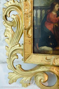 SUPERBE HUILE SUR CUIVRE CADRE BOIS DORé NAPOLITAIN C. 1700 18E TABLEAU ANCIEN