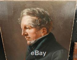 SUPERBE PORTRAIT D'ELEGANT Homme XIXe Tableau Ancien Huile Proche Girodet 1820
