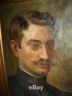 Superbe Tableau Ancien Portrait 1915 R. Verne