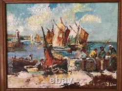 SUPERBE ancien TABLEAU PEINTURE HST Bretagne Port Marins Bateaux signé Y. Léon