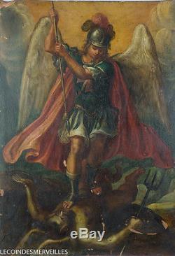 Saint Michel Terrassant Le Mal Superbe Huile Sur Cuivre Xviie Tableau Ancien