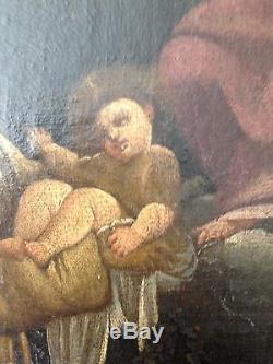 Somptueux Tableau Religieux Ancien Huile Sur Toile Scène Religieuse Femme Enants