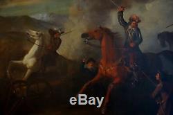 Spectaculaire tableau ancien bataille choc de cavalerie époque 18-19ème