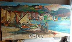 Suberbe tableau ancienne peinture huile sur toile marine signéRgL. 100x50cm. Top