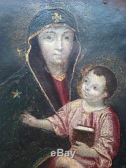 Sublime Tableau ancien XVIIIe XIXe Vierge à l'enfant Huile sur carton Orthodoxe