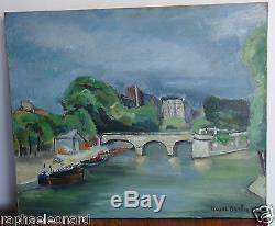 Superbe Ancien Tableau Huile sur Toile. Marcel BASLER. Vintage Oil Painting