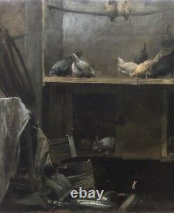 Superbe Intérieur Poulailler XIX Tableau Ancien HsT Poule Lapin Millet Courbet