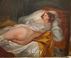Superbe Petit Tableau Ancien Huile Érotique Nu Féminin XIXe c. 1850