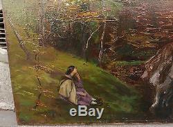 Superbe Tableau Ancien Huile Femme assise dans un Paysage Arbre AIMÉ PERRET XIXe