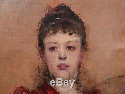Superbe Tableau Ancien Huile Portrait Jeune Femme Impressionniste XIXe 1880