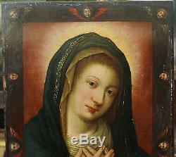Superbe Tableau Ancien Huile Portrait Notre Dame des Anges Espagne XVIIIe Madrid