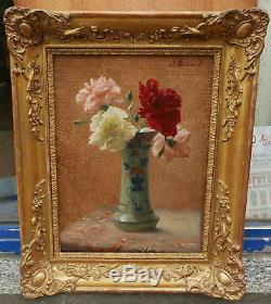 Superbe Tableau Ancien Huile XAVIER BRICARD Bouquet de Fleurs Fantin Latour 1900