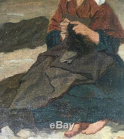Superbe Tableau Ancien THÉODORE VALERIO Portrait Jeune Femme Couture XIXe Huile
