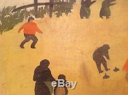 Superbe Tableau ancien Art Naïf Flamand Huile Joueurs de Curling Van Ruffen